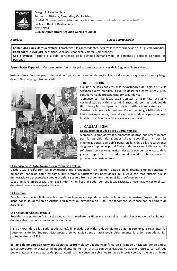 """Colegio El Refugio. Penco                  Subsector: Historia, Geografía y Cs. Sociales                  Unidad: """"Anteced..."""
