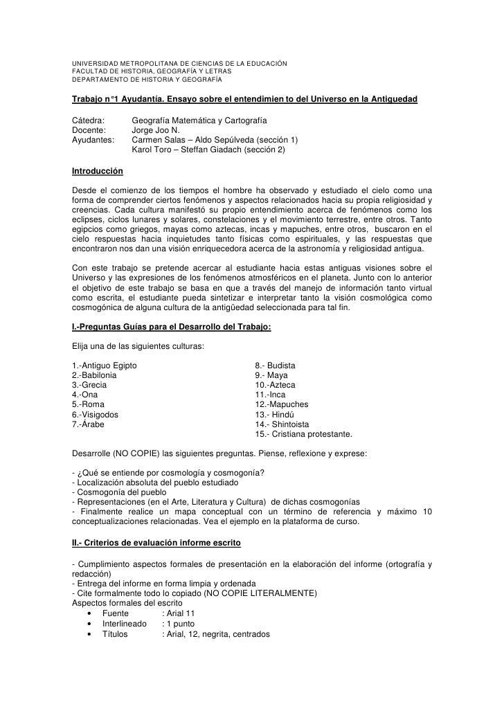 UNIVERSIDAD METROPOLITANA DE CIENCIAS DE LA EDUCACIÓN FACULTAD DE HISTORIA, GEOGRAFÍA Y LETRAS DEPARTAMENTO DE HISTORIA Y ...