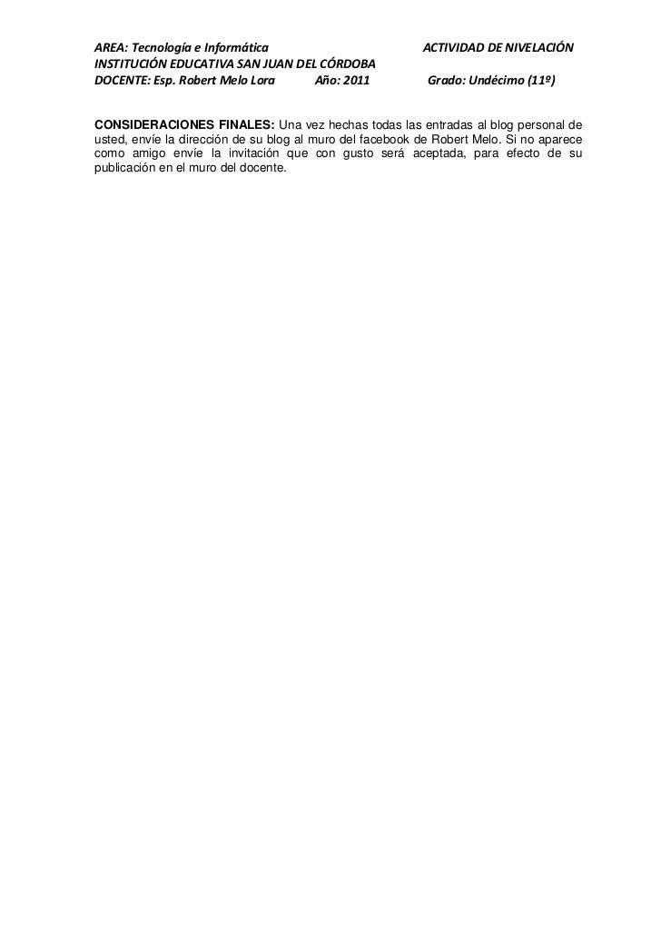 AREA: Tecnología e Informática                            ACTIVIDAD DE NIVELACIÓNINSTITUCIÓN EDUCATIVA SAN JUAN DEL CÓRDOB...