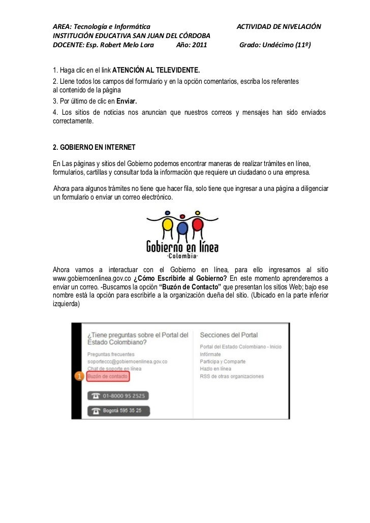 AREA: Tecnología e Informática                                      ACTIVIDAD DE NIVELACIÓNINSTITUCIÓN EDUCATIVA SAN JUAN ...