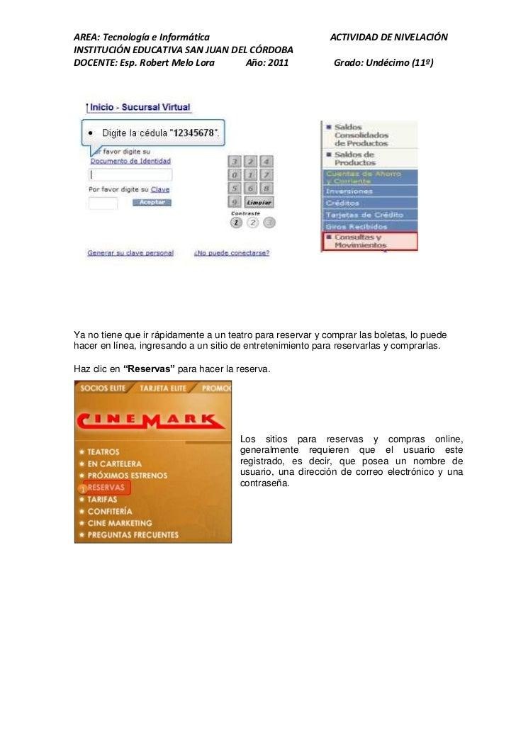 AREA: Tecnología e Informática                              ACTIVIDAD DE NIVELACIÓNINSTITUCIÓN EDUCATIVA SAN JUAN DEL CÓRD...