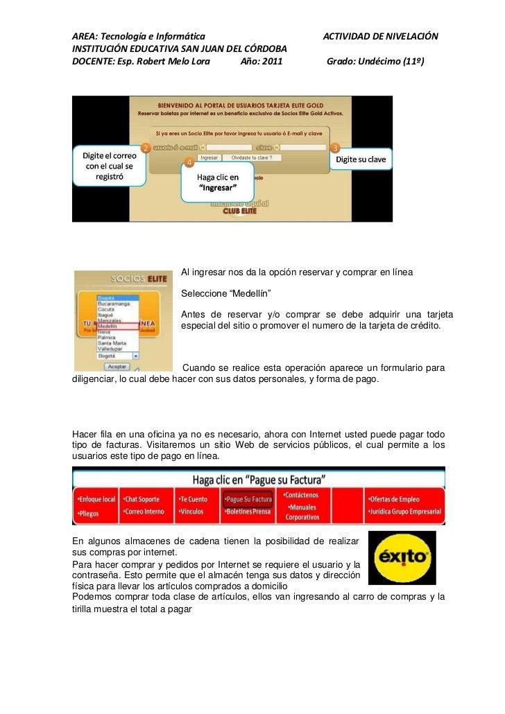 AREA: Tecnología e Informática                             ACTIVIDAD DE NIVELACIÓNINSTITUCIÓN EDUCATIVA SAN JUAN DEL CÓRDO...