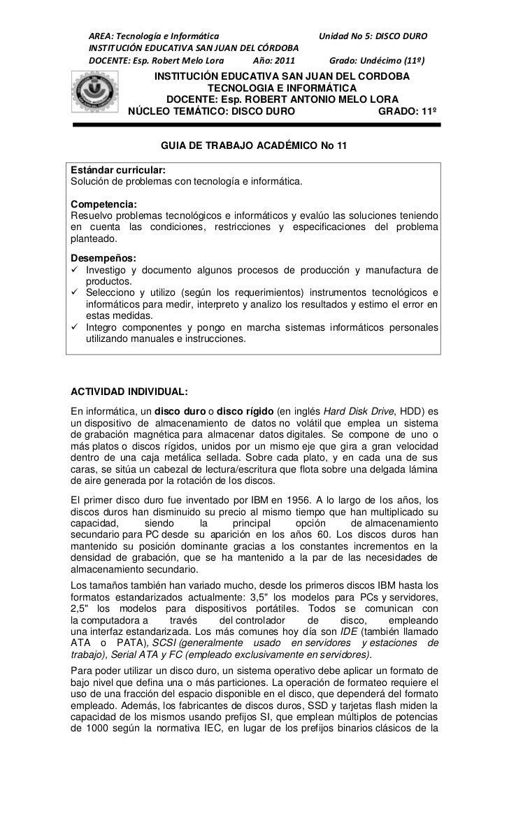 AREA: Tecnología e Informática                     Unidad No 5: DISCO DURO    INSTITUCIÓN EDUCATIVA SAN JUAN DEL CÓRDOBA  ...