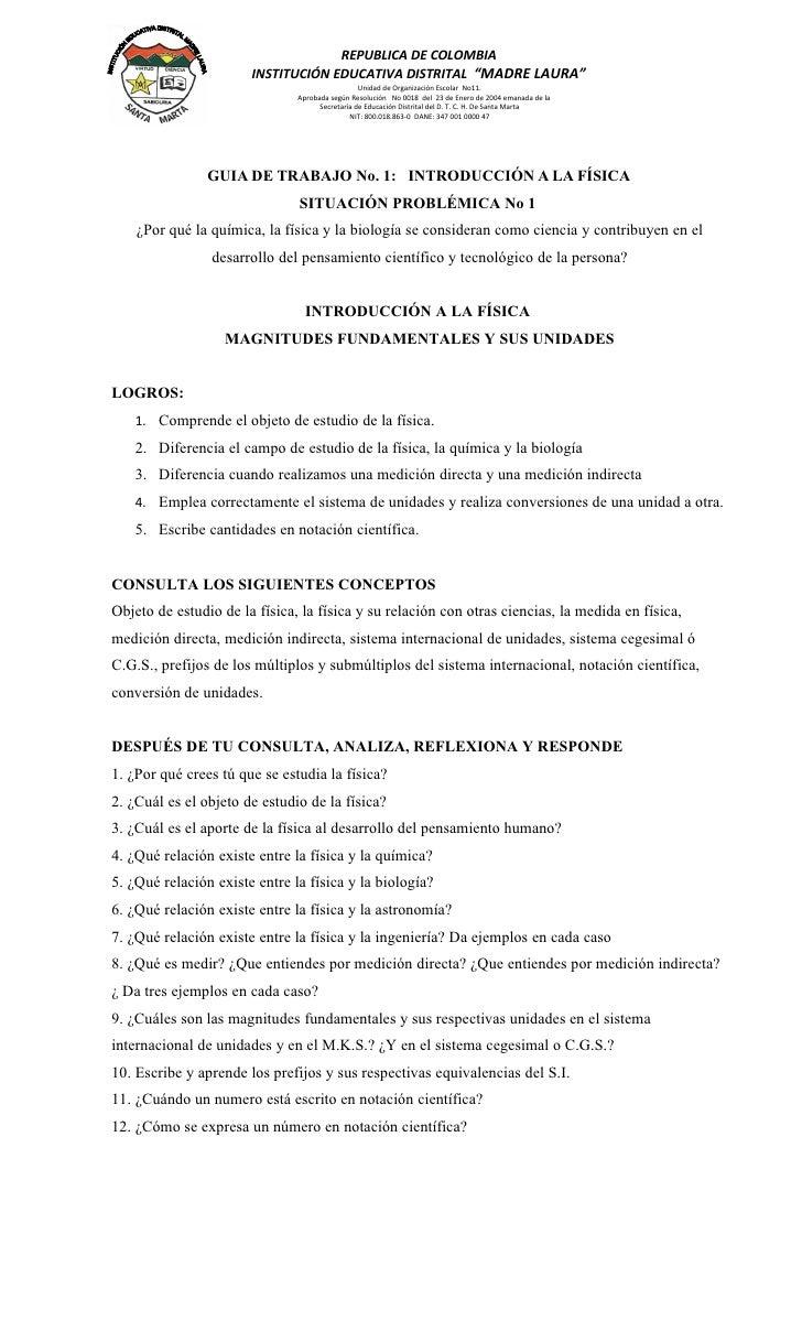 """REPUBLICA DE COLOMBIA                        INSTITUCIÓN EDUCATIVA DISTRITAL """"MADRE LAURA""""                                ..."""