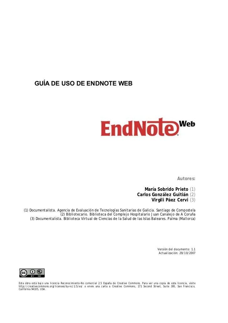 GUÍA DE USO DE ENDNOTE WEB                                                                                                ...