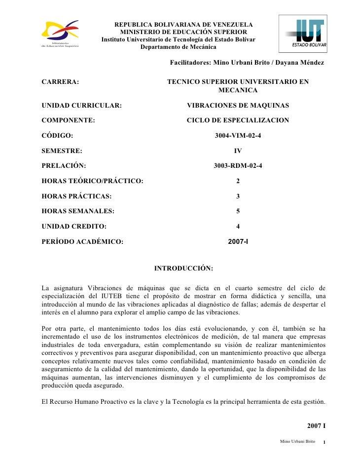 REPUBLICA BOLIVARIANA DE VENEZUELA                            MINISTERIO DE EDUCACIÓN SUPERIOR                     Institu...