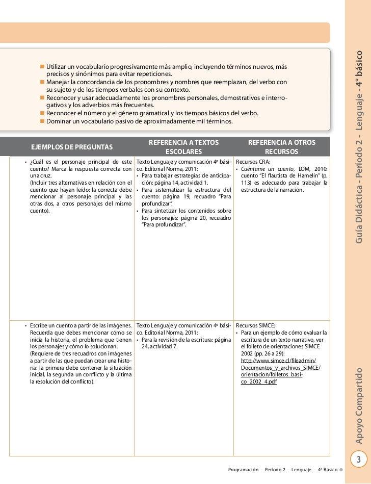 Guía Didáctica - Período 2 - Lenguaje - 4° básico      n   Utilizar un vocabulario progresivamente más amplio, incluyendo ...