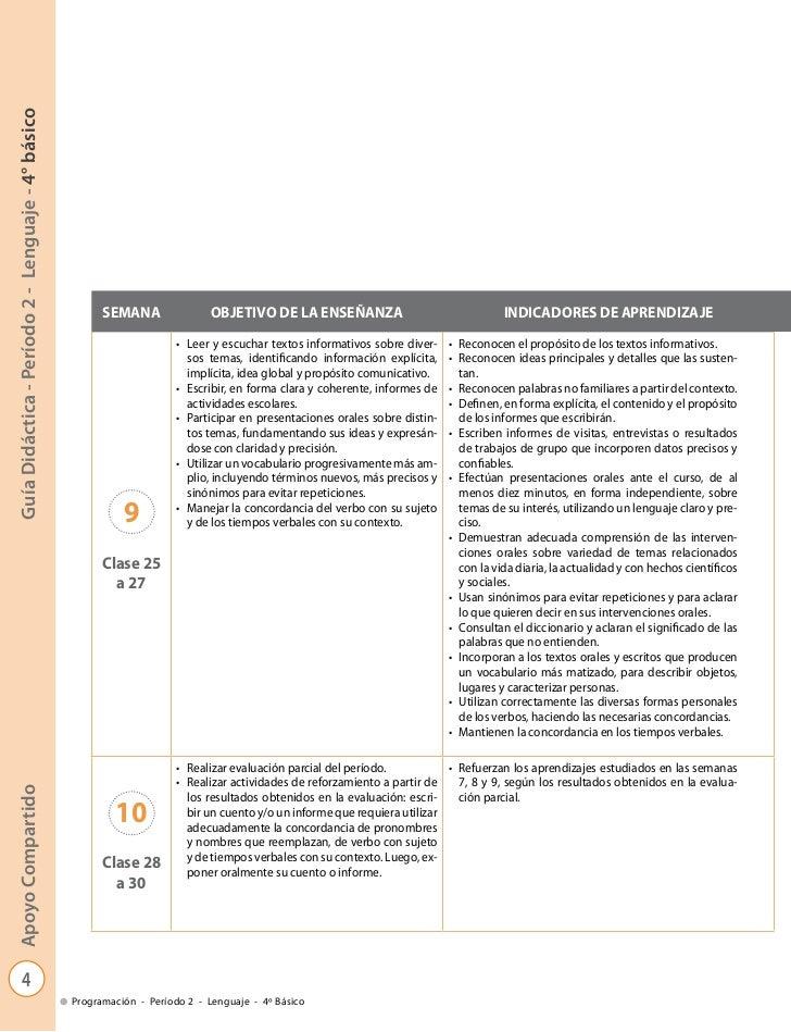 Guía Didáctica - Período 2 - Lenguaje - 4° básico                                                          SEMANA         ...
