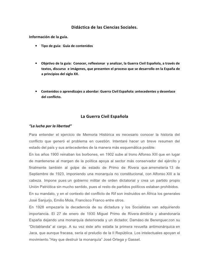 Didáctica de las Ciencias Sociales.Información de la guía.   •   Tipo de guía: Guía de contenidos   •   Objetivo de la guí...