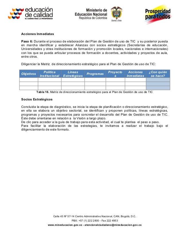 Acciones InmediatasPaso 6: Durante el proceso de elaboración del Plan de Gestión de uso de TIC y su posterior puestaen mar...
