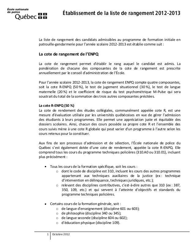 Établissement de la liste de rangement 2012-2013  La liste de rangement des candidats admissibles au programme de formatio...