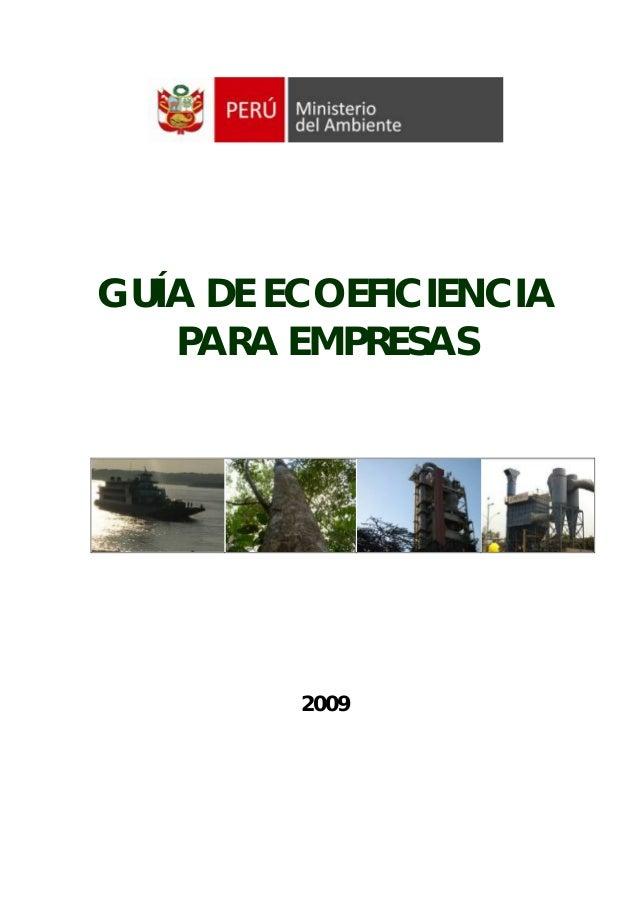 GUÍA DE ECOEFICIENCIA   PARA EMPRESAS         2009