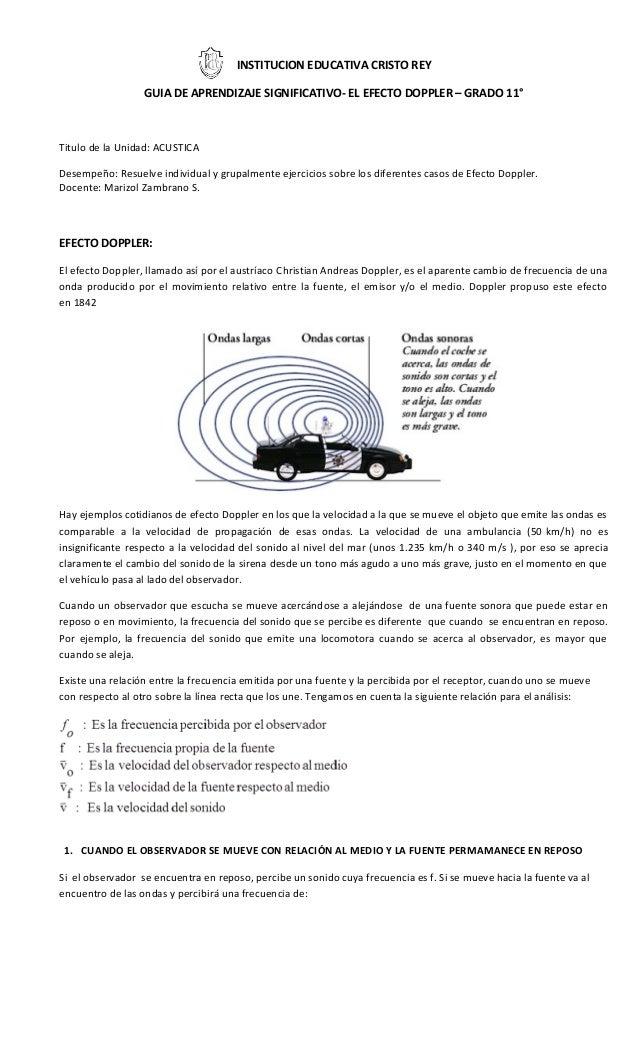 INSTITUCION EDUCATIVA CRISTO REY GUIA DE APRENDIZAJE SIGNIFICATIVO- EL EFECTO DOPPLER – GRADO 11° Titulo de la Unidad: ACU...