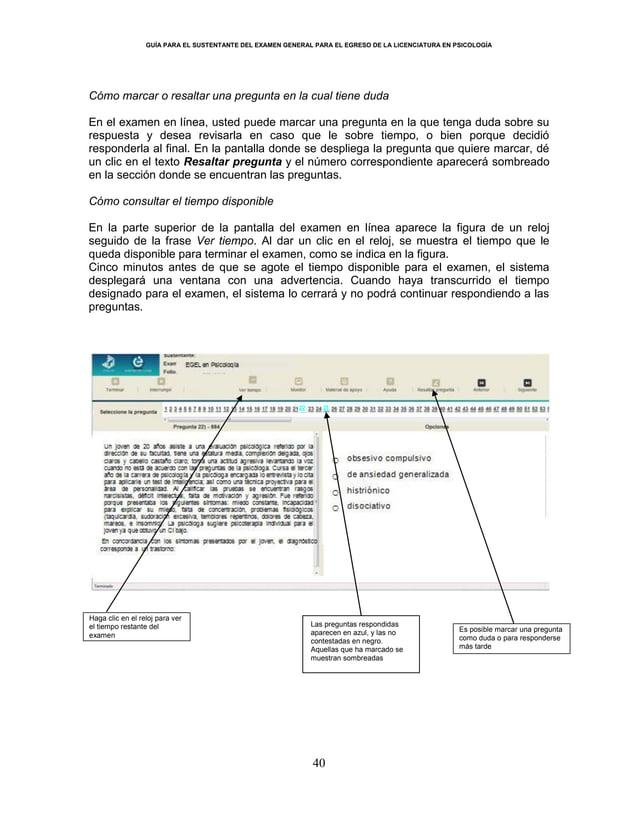 GUÍA PARA EL SUSTENTANTE DEL EXAMEN GENERAL PARA EL EGRESO DE LA LICENCIATURA EN PSICOLOGÍA 40 Cómo marcar o resaltar una ...