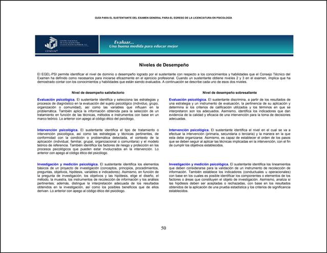 GUÍA PARA EL SUSTENTANTE DEL EXAMEN GENERAL PARA EL EGRESO DE LA LICENCIATURA EN PSICOLOGÍA 50 Niveles de Desempeño El EGE...