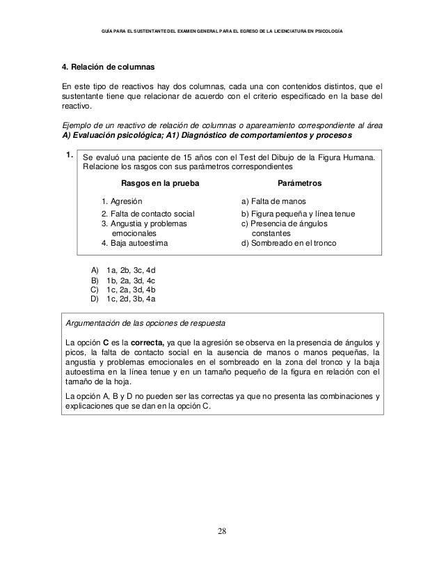 GUÍA PARA EL SUSTENTANTE DEL EXAMEN GENERAL PARA EL EGRESO DE LA LICENCIATURA EN PSICOLOGÍA 28 4. Relación de columnas En ...