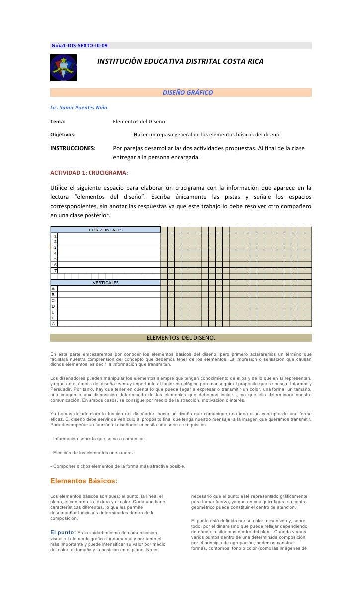 Guìa1-DIS-SEXTO-III-09                         INSTITUCIÒN EDUCATIVA DISTRITAL COSTA RICA                                 ...