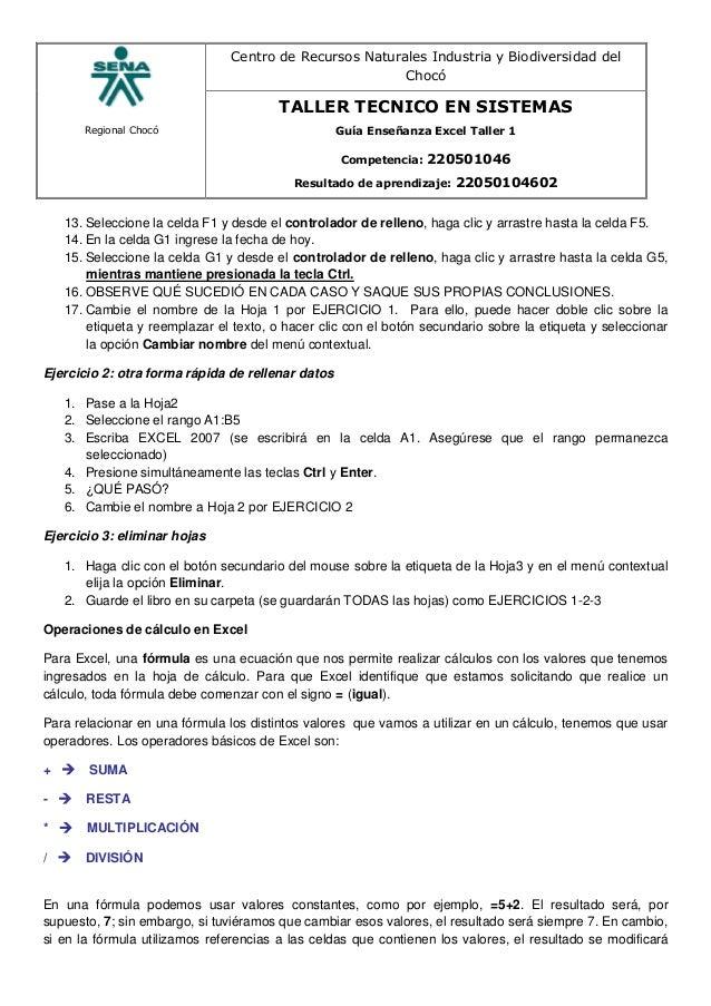 Regional Chocó Centro de Recursos Naturales Industria y Biodiversidad del Chocó TALLER TECNICO EN SISTEMAS Guía Enseñanza ...