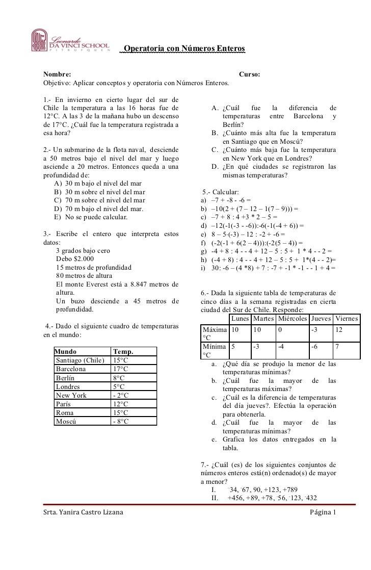 Operatoria con Números EnterosNombre:                                                         Curso:Objetivo: Aplicar conc...