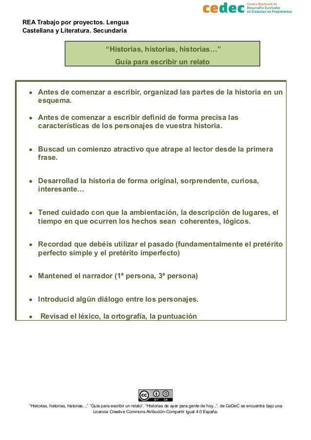 """REA Trabajo por proyectos. Lengua Castellana y Literatura. Secundaria """"Historias, historias, historias…"""" Guía para escribi..."""