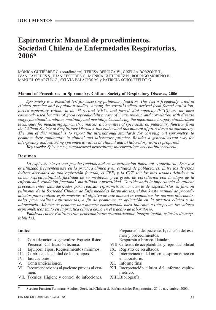 DOCUMENTOSEspirometría: Manual de procedimientos.Sociedad Chilena de Enfermedades Respiratorias,2006*MÓNICA GUTIÉRREZ C. (...