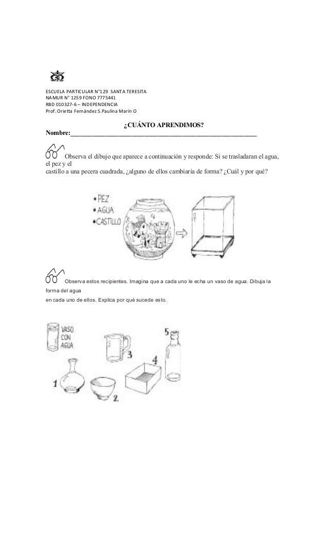 ESCUELA PARTICULAR N°129 SANTA TERESITA NAMUR N° 1259 FONO 7775441 RBD 010327-6 – INDEPENDENCIA Prof. Orietta Fernández S....