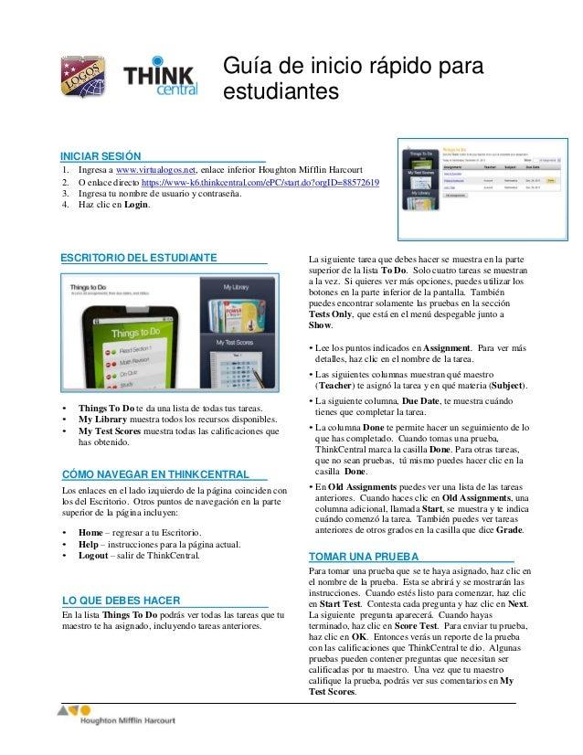 Guía de inicio rápido paraestudiantesINICIAR SESIÓN1. Ingresa a www.virtualogos.net, enlace inferior Houghton Mifflin Harc...
