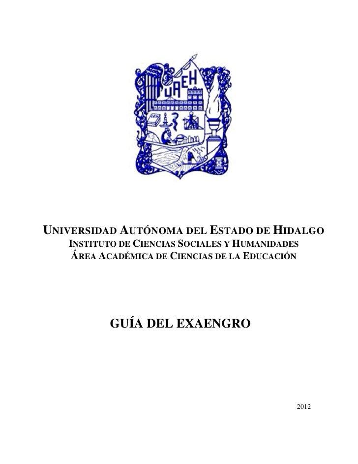 UNIVERSIDAD AUTÓNOMA DEL ESTADO DE HIDALGO   INSTITUTO DE CIENCIAS SOCIALES Y HUMANIDADES    ÁREA ACADÉMICA DE CIENCIAS DE...