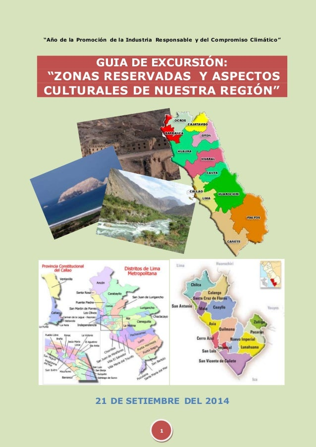 """""""Año de la Promoción de la Industria Responsable y del Compromiso Climático""""  GUIA DE EXCURSIÓN:  """"ZONAS RESERVADAS Y ASPE..."""