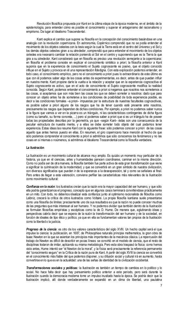 7 Revolución filosófica propuesta por Kant en la última etapa de la época moderna, en el ámbito de la epistemología, para ...