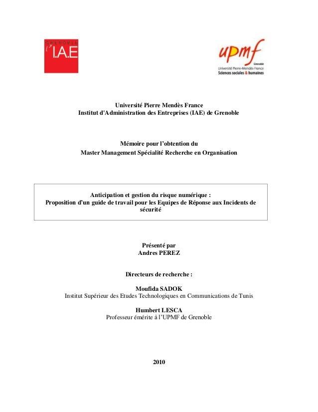 Université Pierre Mendès France            Institut dAdministration des Entreprises (IAE) de Grenoble                     ...