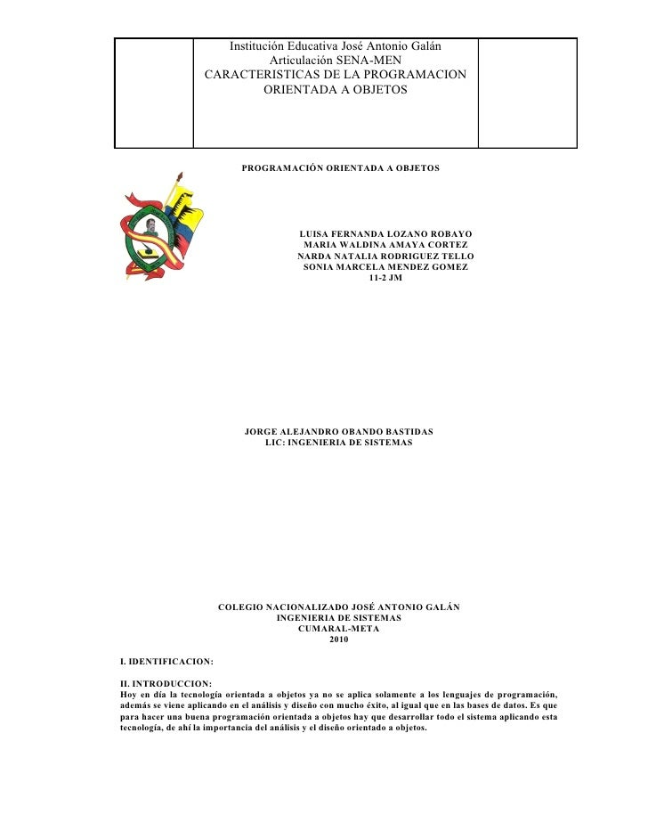 Institución Educativa José Antonio Galán                                 Articulación SENA-MEN                      CARACT...
