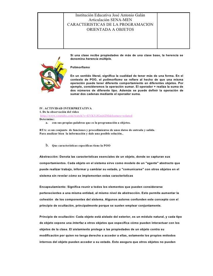 Institución Educativa José Antonio Galán                                Articulación SENA-MEN                     CARACTER...