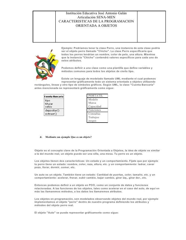 Institución Educativa José Antonio Galán                               Articulación SENA-MEN                    CARACTERIS...