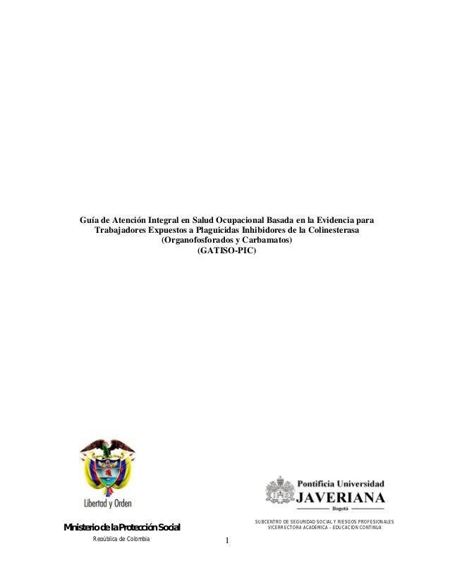 Guía de Atención Integral en Salud Ocupacional Basada en la Evidencia para       Trabajadores Expuestos a Plaguicidas Inhi...