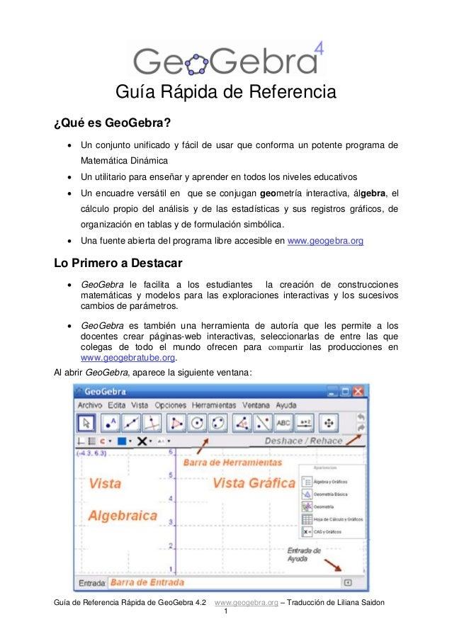 Guía de Referencia Rápida de GeoGebra 4.2 www.geogebra.org – Traducción de Liliana Saidon  1  Guía Rápida de Referencia  ¿...