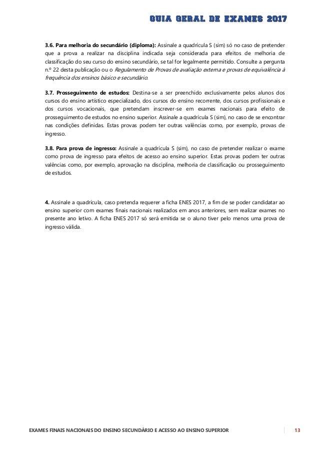 14 EXAMES FINAIS NACIONAIS DO ENSINO SECUNDÁRIO E ACESSO AO ENSINO SUPERIOR MODELO DO BOLETIM DE INSCRIÇÃO NOS EXAMES DO E...