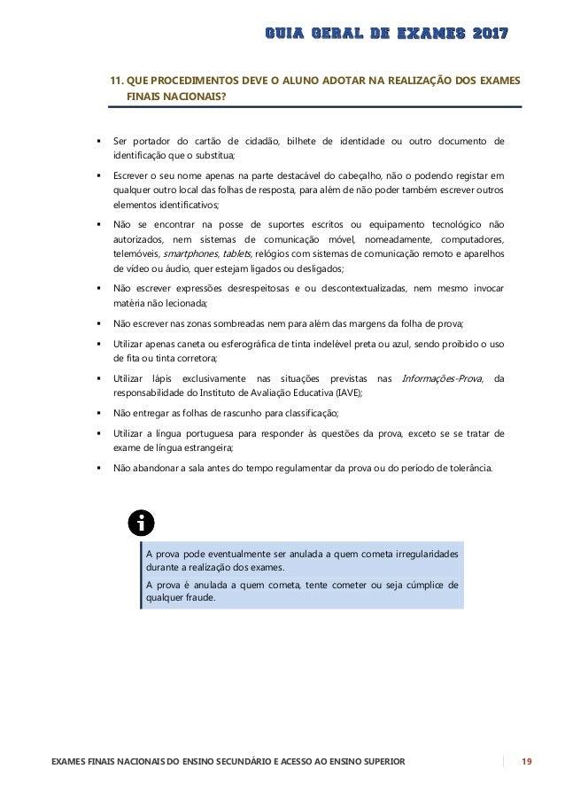 20 EXAMES FINAIS NACIONAIS DO ENSINO SECUNDÁRIO E ACESSO AO ENSINO SUPERIOR 12. QUE MATERIAL PODE SER UTILIZADO DURANTE A ...