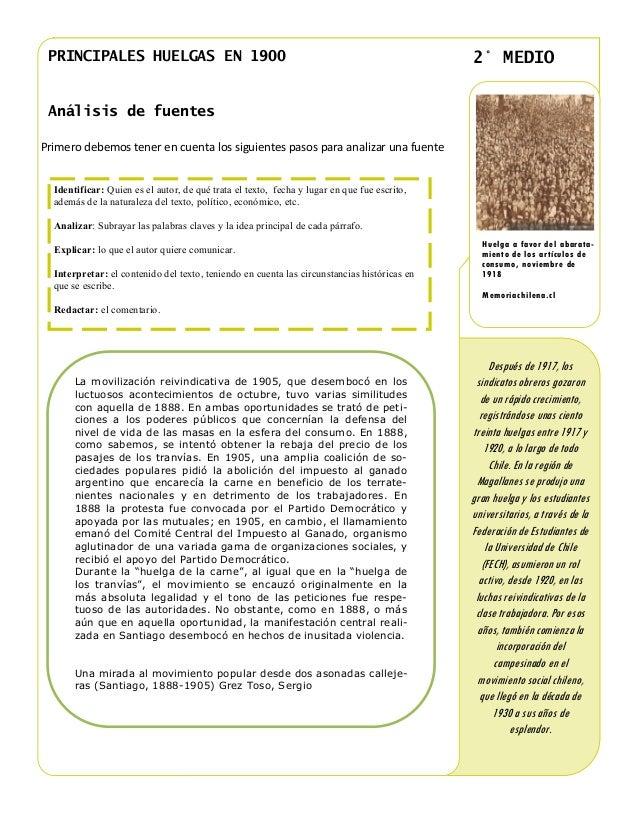 PRINCIPALES HUELGAS EN 1900                                                                 2° MEDIO Análisis de fuentesPr...