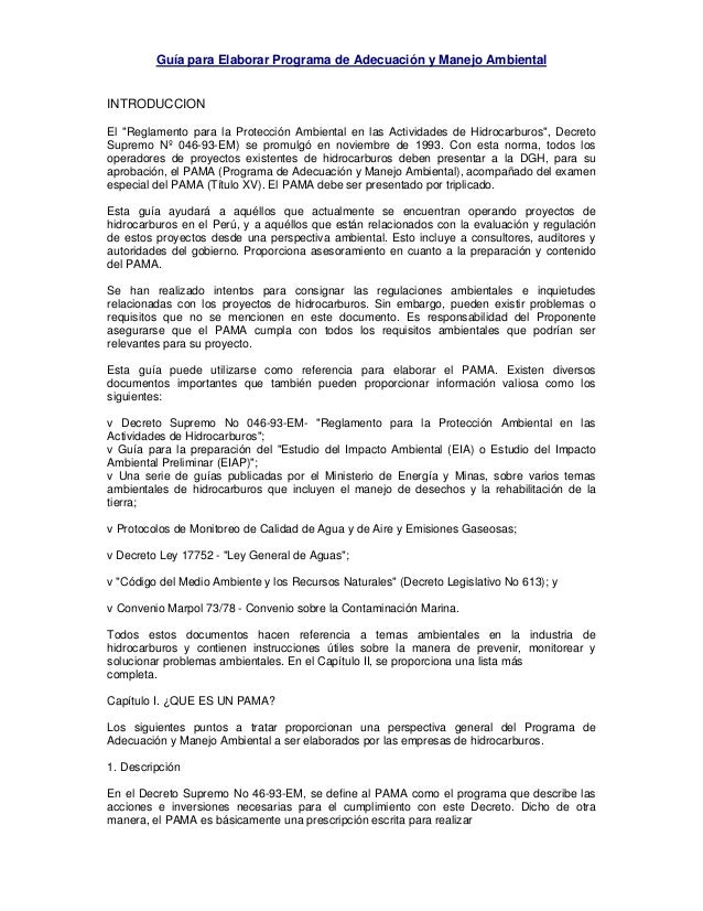 """Guía para Elaborar Programa de Adecuación y Manejo Ambiental INTRODUCCION El """"Reglamento para la Protección Ambiental en l..."""