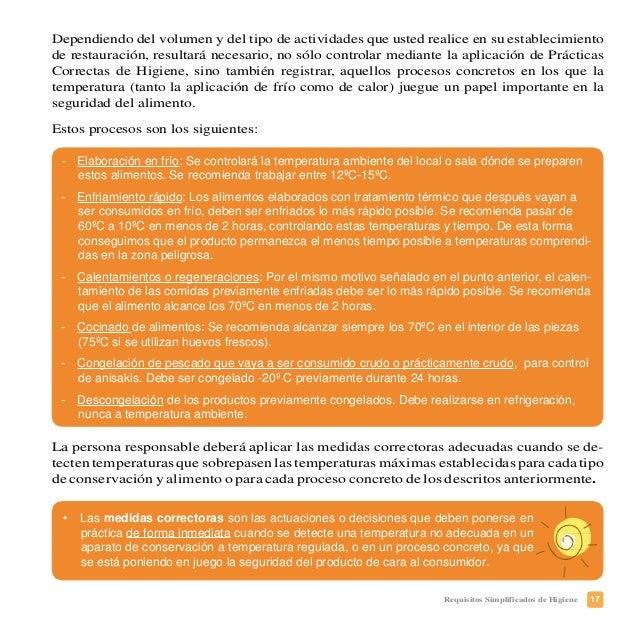 20 Requisitos Simplificados de Higiene Se propone a título orientativo un modelo para el registro de los controles de temp...
