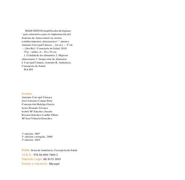 5Requisitos Simplificados de Higiene INTRODUCCION Este documento pretende ser una guía orientativa para la im- plantación ...