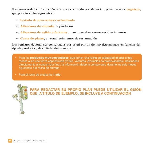 63Requisitos Simplificados de Higiene Registro de entrada de materias primas (REGIMEN INTERNO)