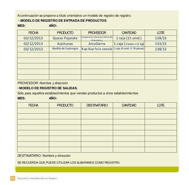 65Requisitos Simplificados de Higiene El procedimiento que usted debe implantar en su establecimiento debe basarse en una ...