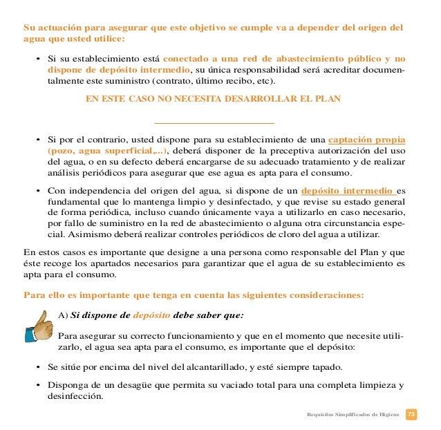 76 Requisitos Simplificados de Higiene • Si tiene que realizar análisis del agua, deberá indicar el laboratorio que tiene ...