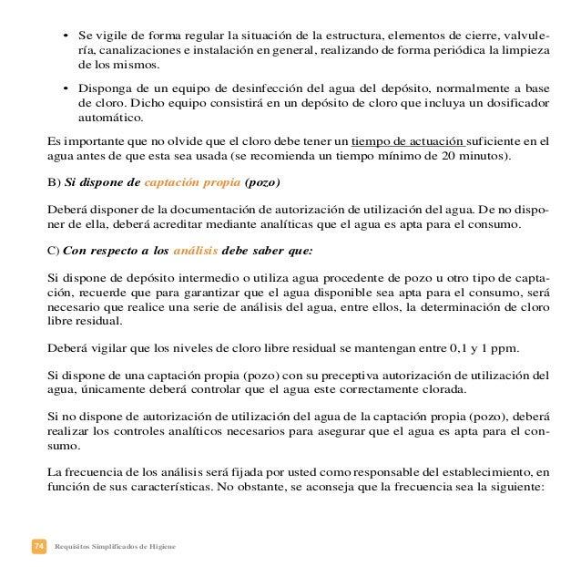 77Requisitos Simplificados de Higiene PLAN DE CONTROL DEL AGUA DE CONSUMO ¿Quién se encarga de controlar el agua para el c...