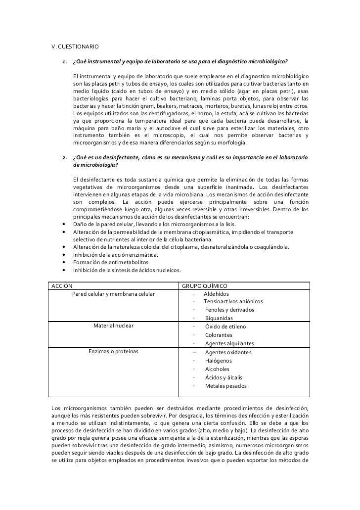 V. CUESTIONARIO      1.   ¿Qué instrumental y equipo de laboratorio se usa para el diagnóstico microbiológico?           E...