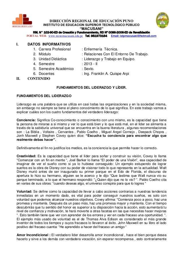 """DIRECCIÓN REGIONAL DE EDUCACIÓN PUNO INSTITUTO DE EDUCACION SUPERIOR TECNOLÓGICO PÚBLICO  """"MACUSANI""""  RM. N° 102-90-ED de ..."""