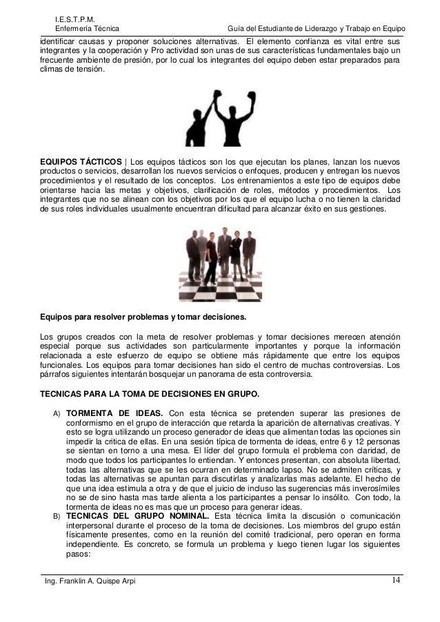 I.E.S.T.P.M. Enfermería Técnica  Guía del Estudiante de Liderazgo y Trabajo en Equipo  identificar causas y proponer soluc...
