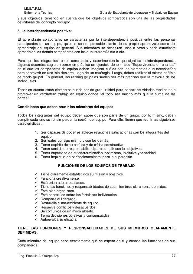 I.E.S.T.P.M. Enfermería Técnica  Guía del Estudiante de Liderazgo y Trabajo en Equipo  y sus objetivos, teniendo en cuenta...